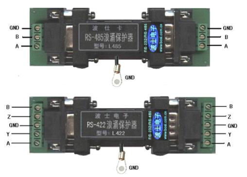 485浪涌保护器 一、 用途 波士 L 系列浪涌保护器用于保护计算机、 单片机、 仪器等的RS232、CAN、RS485、RS422串行口在使用时免受各种高电压、雷击、静电等导致的损坏。 二、安装及性能 L232、LCAN、L485、L422 的外形均为 DB-9/DB-9 转接盒大小, 一头公 (针座) 、 一头母(孔座)。如果使用 DB25 的 RS232 串行口,可以加 DB9/25 转接头,波士电子也有 DB25 外形的相应产品供用户选择。 L 系列浪涌保护器都无需外接电源,无需软件支持。L 系列