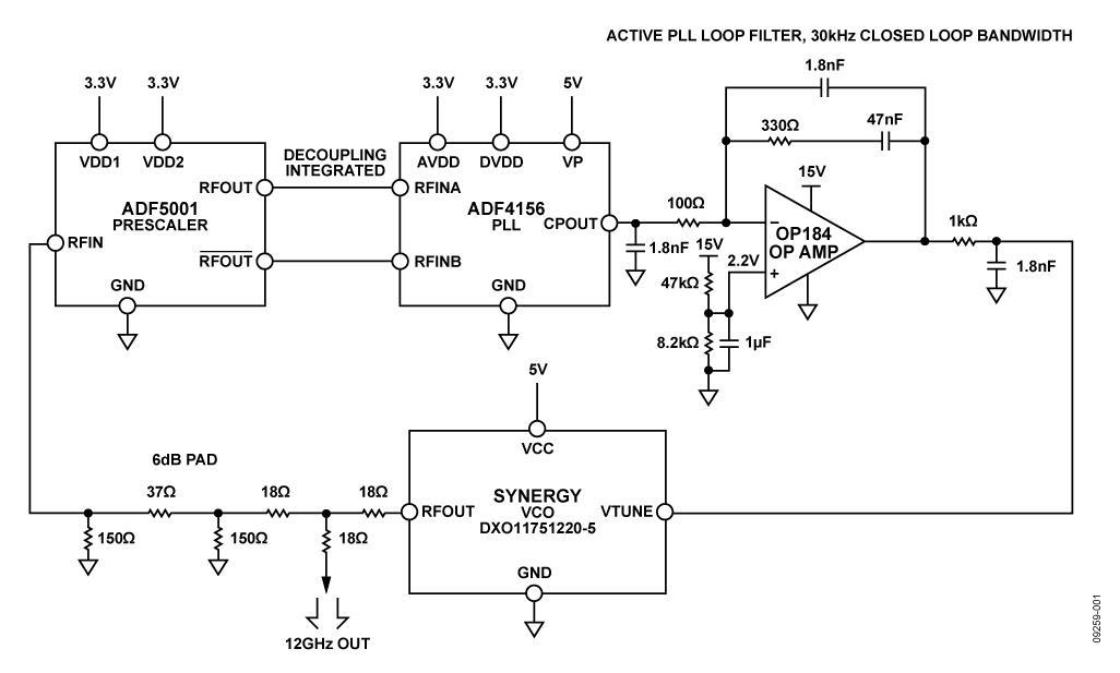 使用有源环路滤波器和rf预分频器的低噪声12 ghz微波小数n分频锁相环