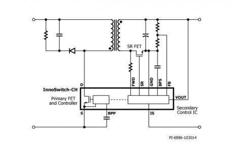 次级侧控制器的集成可实现无击穿的同步整流fet驱动,同时提供快速瞬态