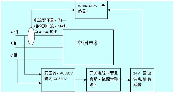 现场接线图   传感器检测空调电机电流接线图为:     &nbsp